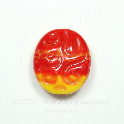 """Бусина """"Овал с резным узором"""" (цвет - желто-красный) 17х14 мм , 5 штук"""