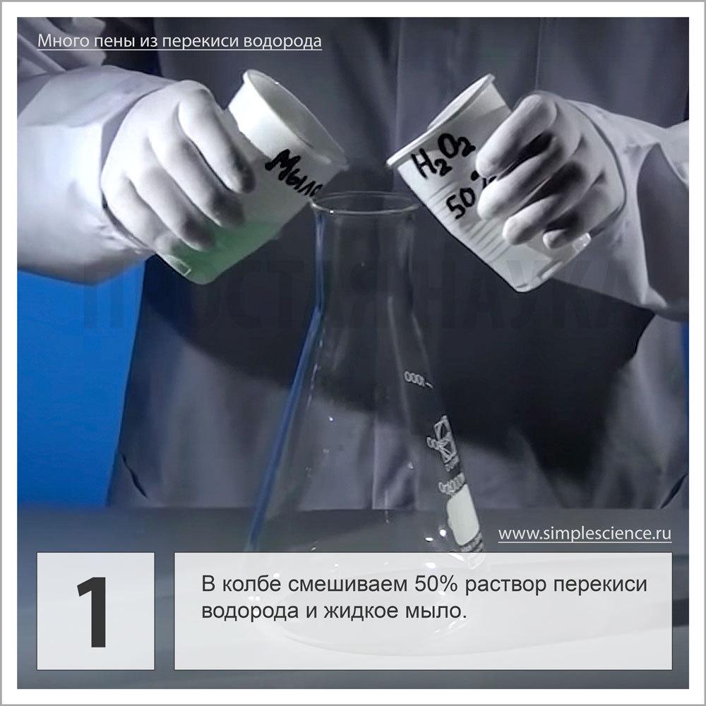 В колбе смешиваем раствор перекиси водорода и жидкое мыло.