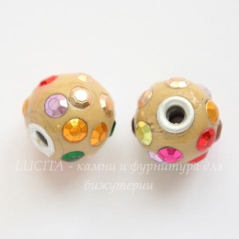 """Бусина """"Индонезийская"""" ручной работы желтая с разноцветными стразами, 16 мм"""