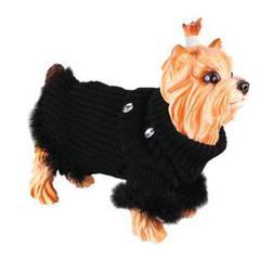 Свитер для собак, DEZZIE, вязанный черный 20 см