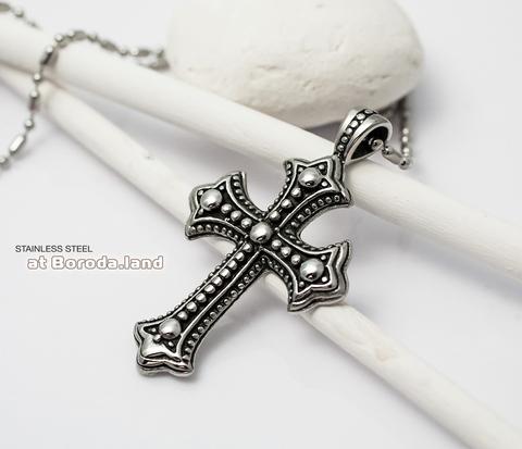 Крупная подвеска крест из ювелирной стали с чернением