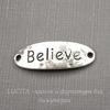 "Коннектор ""Believe"" (1-1) 30х10 мм (цвет - античное серебро)"