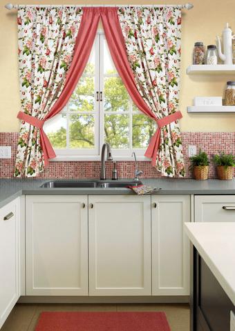 Комплект штор для кухни с подхватами Лилиана красный