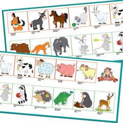 Набор для обучения: Английский язык - Лесные и домашние животные (Animals - forest and farm)