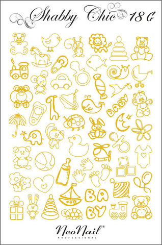 Трафарет для дизайна Shabby Chic 18 белый