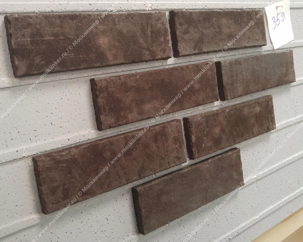 Stroeher, фасадная клинкерная плитка, цвет 359 kohlenglanz, серия Zeitlos, состаренная поверхность, ручная формовка, 240x71x14