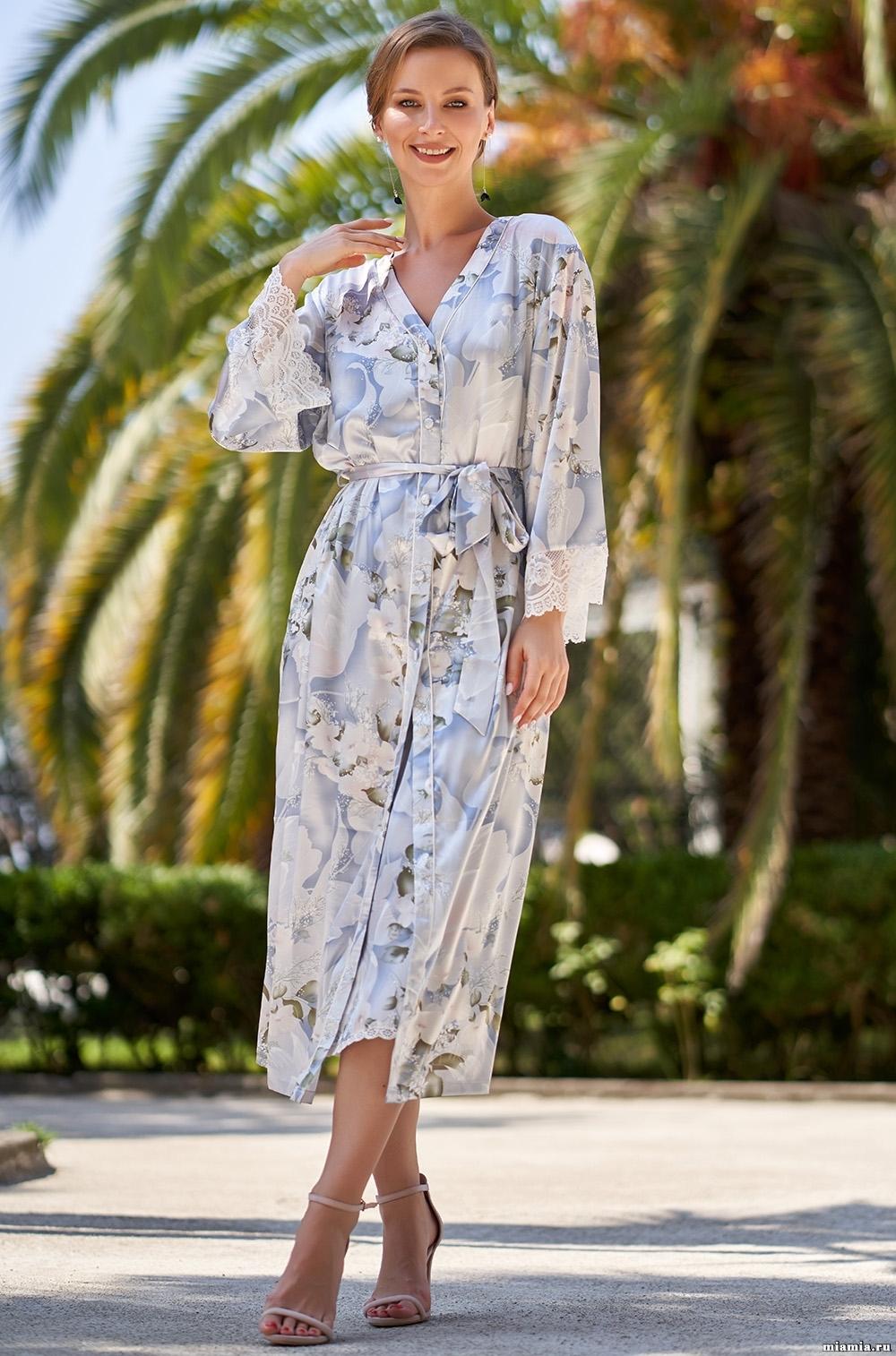 Шелковые халаты Шелковый халат на пуговицах  Mia-Amore  NOVELLA  НОВЕЛЛА 3609 3609_0.jpg