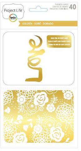 """Набор карточек """"Golden"""" для Project life 40 шт"""