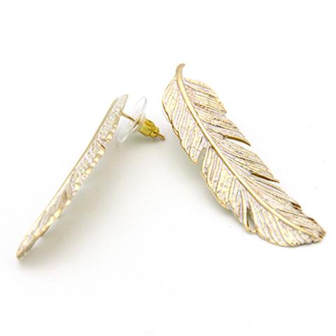 Серьги Перья (золотые с белым)