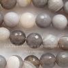 Бусина Агат (тониров), шарик с огранкой, цвет - серо-песочный с белыми полосками, 10 мм, нить