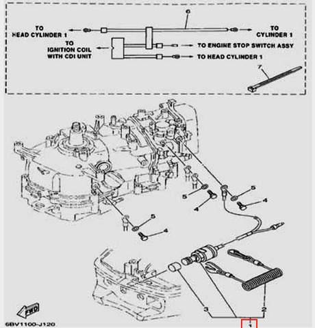 Кнопка останова двигателя для лодочного мотора F5 Sea-PRO(12-1)