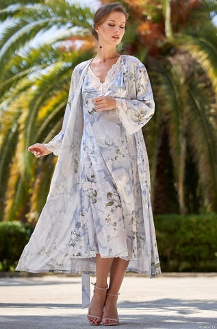 Шелковый халат на пуговицах  Mia-Amore  NOVELLA  НОВЕЛЛА 3609
