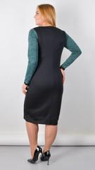 Альфа. Платье в деловом стиле больших размеров. Изумруд/черный.