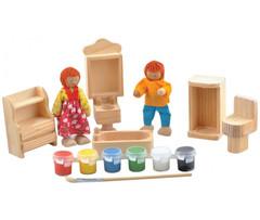 Игрушки из дерева Набор для росписи кукольной мебели