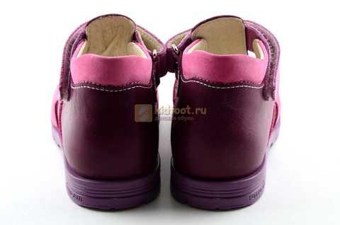 Босоножки Тотто из натуральной кожи с закрытым носом для девочек, цвет Сирень / Фиолетовый, M053B. Изображение 7 из 12.