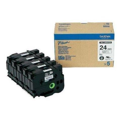 Высококачественная лента для наклеек Brother HGE251V5 -  белая (чёрный шрифт), 24мм*8м, упаковка 5штук, повышенная скорость/разрешение на PT9700