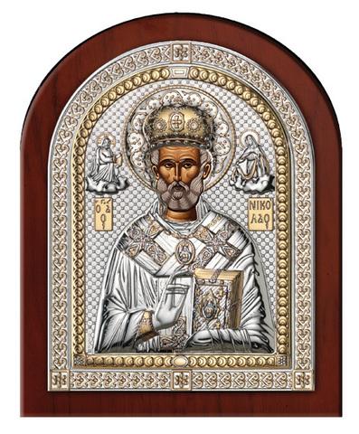 Серебряная икона Святой Николай (эксклюзивная рамка)