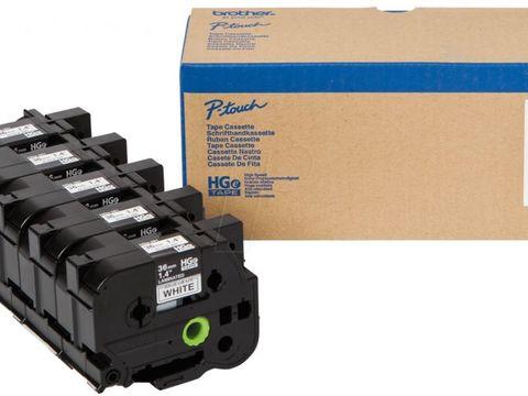 Высококачественная лента для наклеек Brother HGE261V5 - белая (чёрный шрифт), 24мм*8м, упаковка 5 штук, повышенная скорость/разрешение на PT9700