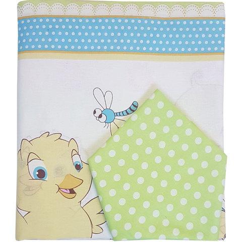 Папитто. Комплект постельного белья для новорожденных из бязи Цыплята, салатовый