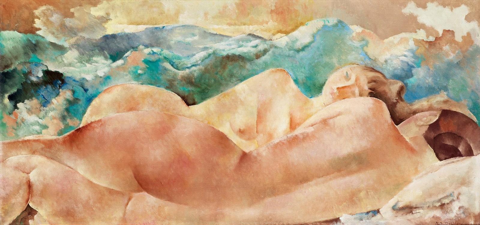 Рудольф-Теофил Босхард. 1922. Две обнаженных у озера (Two naked at the lake). 50 х 104. Холст, масло. Частное собрание.