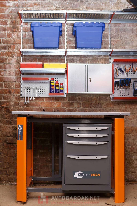 Набор №24 Металлический верстак, полки, ящик, рейлинги и перфопанели для инструментов