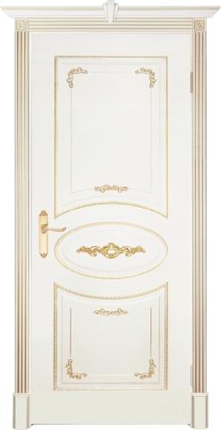 Дверь Prestigio Джорджо, цвет  слоновая кость/патина золото, глухая