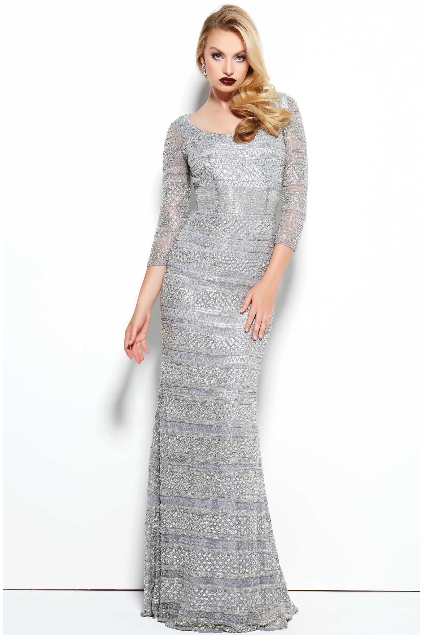 Mac Duggal 4242 Торжественное платье, расшитое бисером, длинна в пол, элегантный шлейф,цвет: серебряный