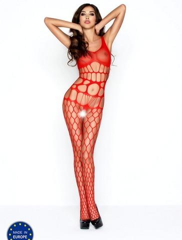 Комбинезон эротический с крупными вырезами (032) красный