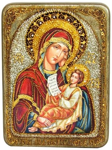 Инкрустированная икона Образ Божией Матери Утоли моя печали 29х21см на натуральном дереве в подарочной коробке
