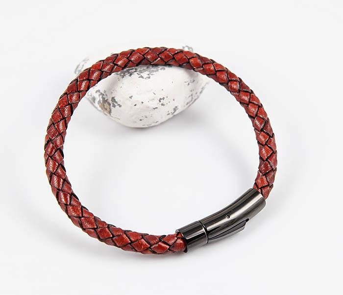 BM517-5 Мужской красный браслет из кожаного шнура фото 05