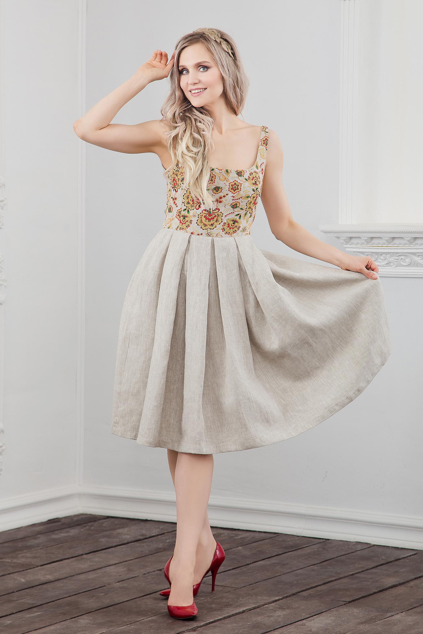 Платье Иванка c хохломой полный рост