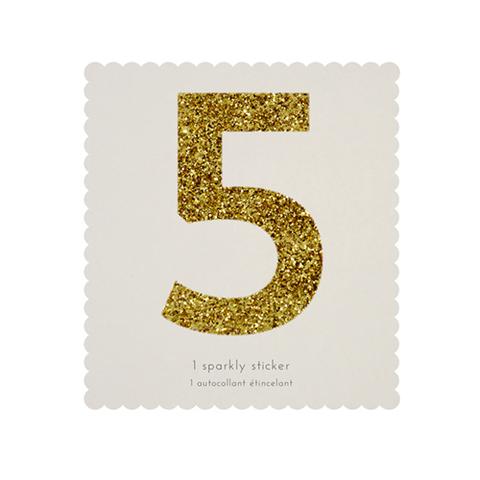 Стикер 5, мерцающее золото