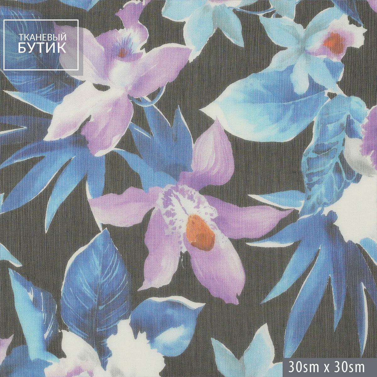Шелковый жатый шифон с сине-фиолетовыми ирисами