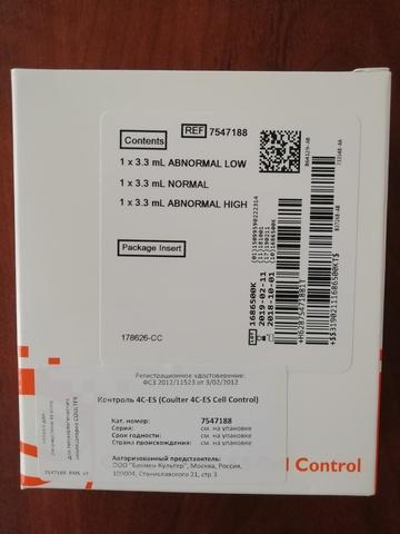 7547188 Клеточный контроль Coulter 4C-ES Cell Control. 3х3.3 мл Beckman Coulter, Inc., США