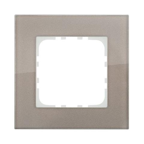 Рамка на 1 пост, натуральное стекло. Цвет Серо-коричневый. LK Studio LK80 (ЛК Студио ЛК80). 844119-1