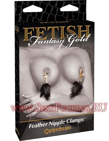 Золотистые зажимы для сосков с перьями Gold Nipple Clamps
