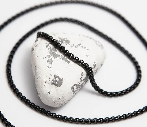 PM258-2 Черная мужская цепочка из ювелирной стали (60 см)