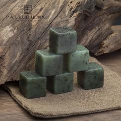 Камни для охлаждения виски из нефрита. Набор 6 шт. в холщовом мешочке.