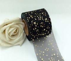 Лента - фатин со звездочками черная ширина 5,5 см