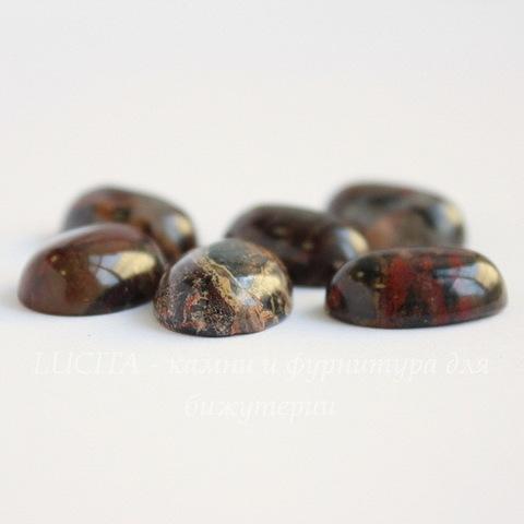 Кабошон овальный Яшма Брекчиевая красно-коричневая с бежевым, 18х13х6 мм №5