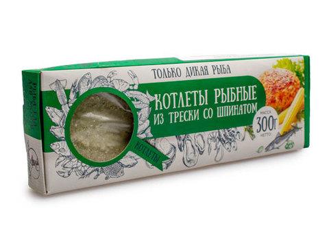 Котлеты  рыбные из трески со шпинатом с/м, 300г