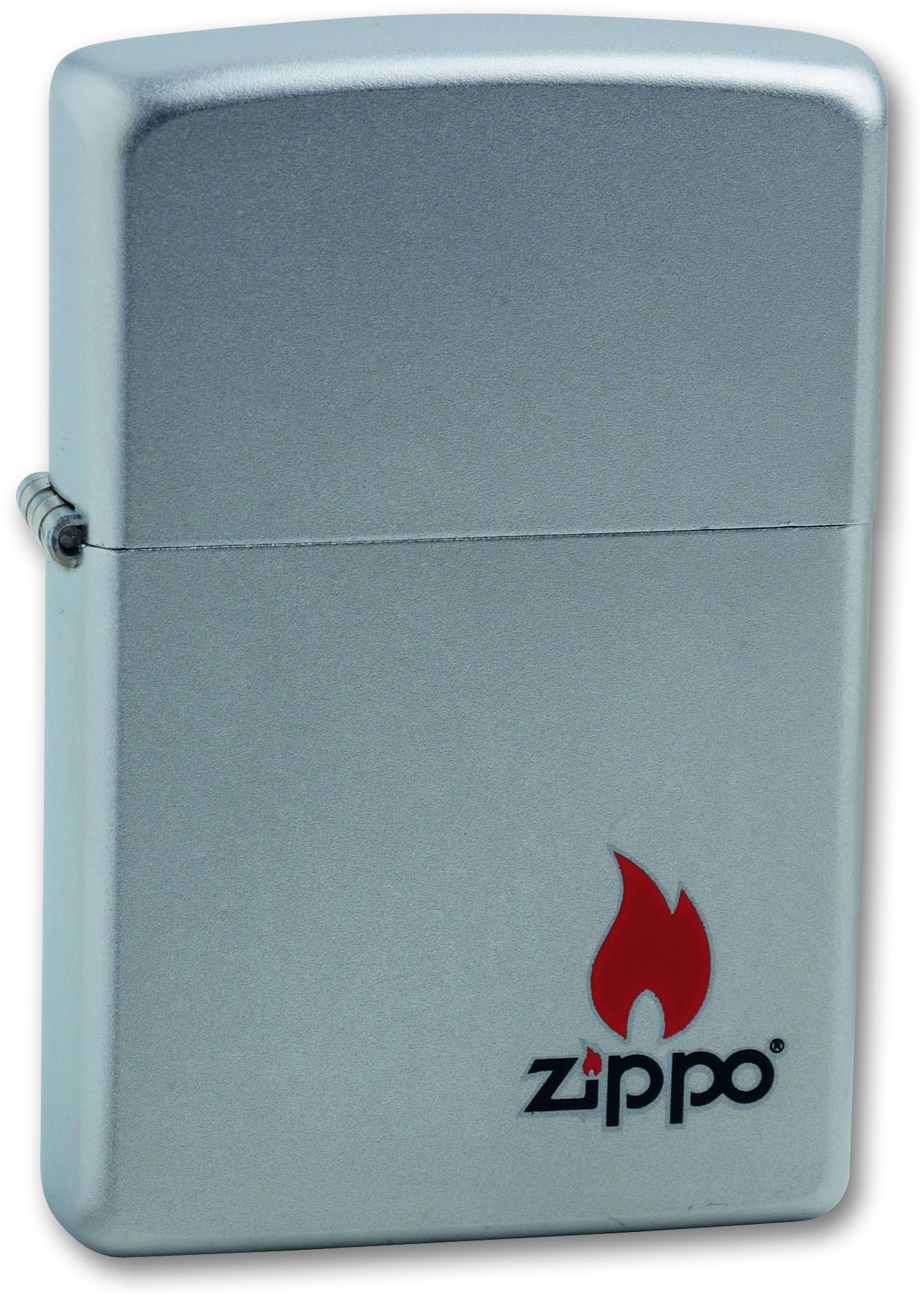 Зажигалка ZIPPO Classic Satin Chrome™ с изображением пламени и логотип Zippo ZP-205 ZIPPO