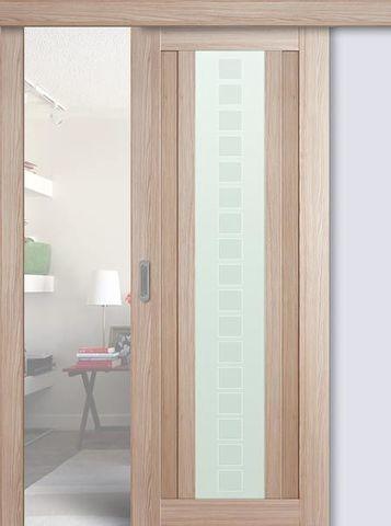 > Экошпон раздвижная Profil Doors №16X-Модерн, стекло квадро, цвет капучино мелинга, остекленная