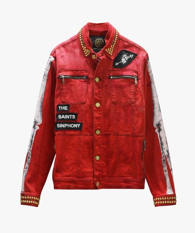 Куртка джинсовая The Saints Sinphony  BONES JACKET RED AND GOLD