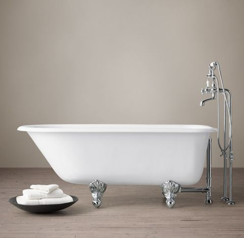 Classic Victorian Clawfoot Tub with Cross-Handle Tub Fill - Metal Feet