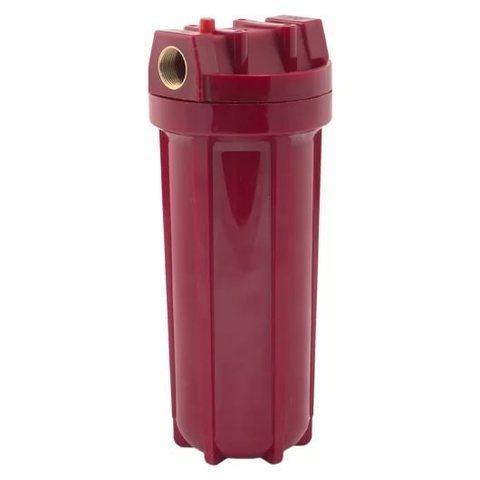 WF-HOT-10 (3/4), Магистральный ПЛАСТИКОВЫЙ КРАСНЫЙ фильтр для горячей воды, Типоразмер SLIM 10