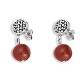 Серьги Coeur de Lion 4887/21-1561 цвет темно-красный, серебряный, серый