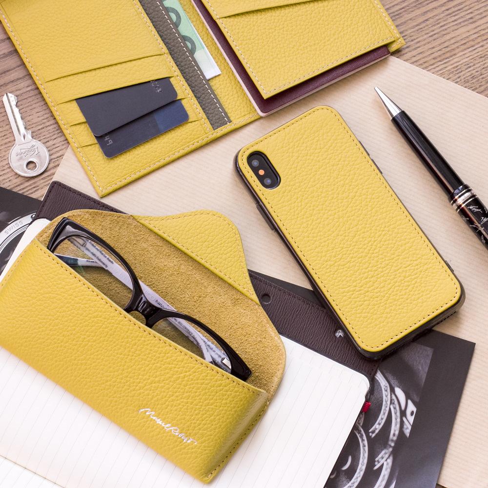 Чехол-накладка для iPhone X/XS из натуральной кожи теленка, желтого цвета
