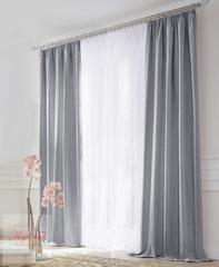 XL-Комплект штор блэкаут (серый) и вуаль (белый)