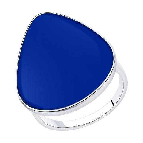 94013126 - Кольцо из серебра с синей  эмалью